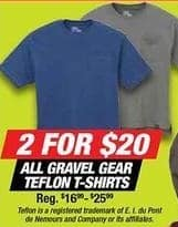 Northern Tool and Equipment Black Friday: (2) All Gravel Gear Teflon T-Shirts for $20.00