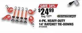 Northern Tool and Equipment Black Friday: 4-pk. Heavy-Duty 14' Ratchet Tie-Downs for $24.99