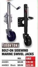Northern Tool and Equipment Black Friday: Ironton Bolt-On Sidewind Marine Swivel Jacks for $19.99 - $22.99