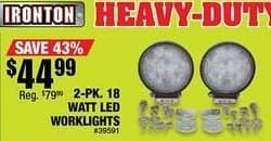 Northern Tool and Equipment Black Friday: Ironton 2-pk. Watt  LED Worklights for $44.99