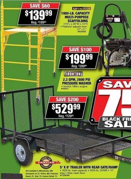 Northern Tool and Equipment Black Friday: 5' x 8' Trailer with Rear Gate/Ramp for $529.99