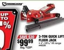 Northern Tool and Equipment Black Friday: Strongway 3-Ton Quick Lift Floor Jack for $99.99