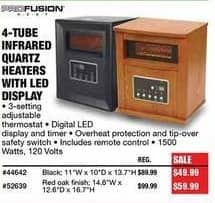 Northern Tool and Equipment Black Friday: 4-Tube Infrared Quartz Heaters with LED Display for $49.99 - $59.99