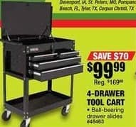 Northern Tool and Equipment Black Friday: 4-Drawer Tool Cart for $99.99