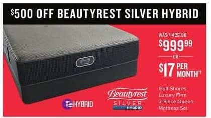 Value City Furniture Black Friday: Beautyrest Silver Hybrid Guft Shores Luxury Firm 2-pc. Queen Mattress Set for $999.99