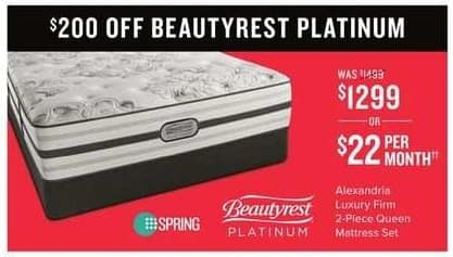 Value City Furniture Black Friday: Beautyrest Platinum Alexandria Luxury Firm 2-pc. Queen Mattress Set for $1,299.00