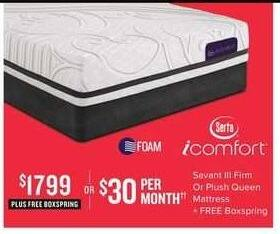 Value City Furniture Black Friday: Serta iComfort Sevant III Firm or Plush Queen Mattress + Free Boxspring for $1,799.00