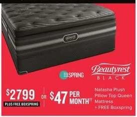 Value City Furniture Black Friday: Beautyrest Black Natasha Plush Pillow Top Queen Mattress + Free Boxspring for $2,799.00