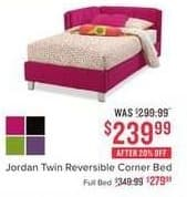 Value City Furniture Black Friday: Jordan Twin Reversible Corner Bed for $239.99