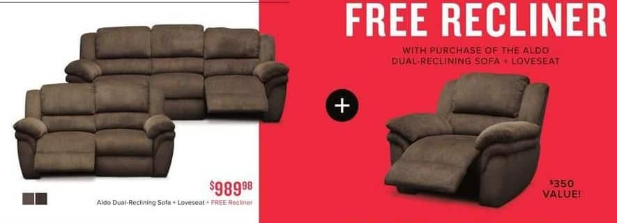 Value City Furniture Black Friday: Aldo Dual-Reclining Sofa and Loveseat + Free Recliner for $989.98