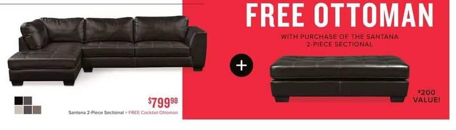Value City Furniture Black Friday: Santana 2-pc. Sectional + Free Cocktail Ottoman for $799.98