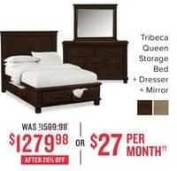 Value City Furniture Black Friday: Tribeca Queen Storage Bed, Dresser and Mirror for $1,279.98