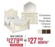 Value City Furniture Black Friday: Charleston Queen Poster Bed, Dresser and Mirror for $1,279.98