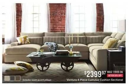 Value City Furniture Black Friday: Venture 4-pc. Cumulus Cushion Sectional for $2,399.97