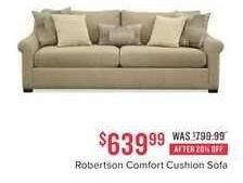 Value City Furniture Black Friday: Robertson Comfort Cushion Sofa for $639.99