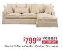 Value City Furniture Black Friday: Brooke 2-pc. Comfort Cushion Sectional for $799.99