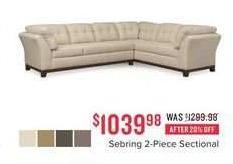 Value City Furniture Black Friday: Sebring 2-pc. Sectional for $1,039.98