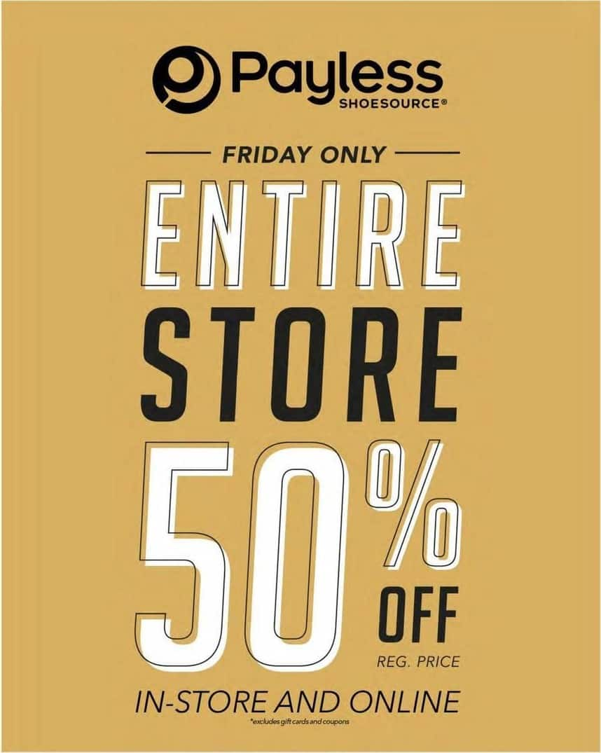 Payless ShoeSource Black Friday: Entire Store - 50% Off
