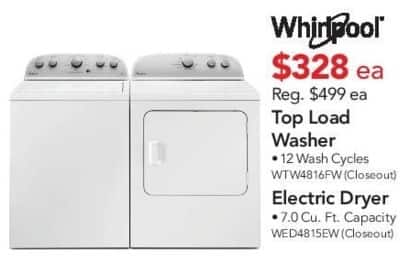 ABT Electronics Black Friday: Whirlpool WTW4816FW Top Load Washer for $328.00