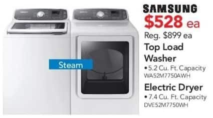 ABT Electronics Black Friday: Samsung DVE52M7750WH Electric Dryer for $528.00