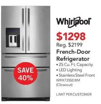 ABT Electronics Black Friday: Whirlpool WRX735SDBM French-Door Refrigerator for $1,298.00
