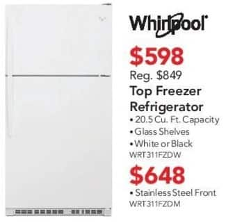 ABT Electronics Black Friday: Whirlpool WRT311FZDM Stainless Steel Front Refrigerator for $648.00