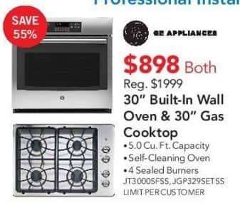 """ABT Electronics Black Friday: GE Appliances JT3000SFSS 30"""" Built-In Wall Oven and GE Appliances JGP329SETSS 30"""" Gas Cooktop for $898.00"""