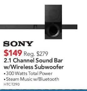 ABT Electronics Black Friday: Sony 2.1 Channel Sound Bar with Wireless Subwoofer for $149.00