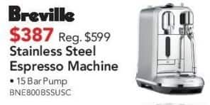 ABT Electronics Black Friday: Breville Stainless Steel Espresso Machine for $387.00