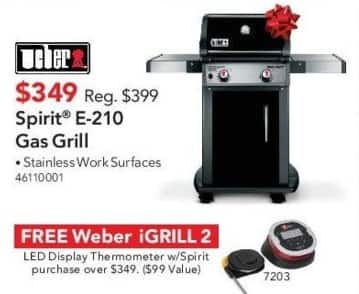 ABT Electronics Black Friday: Weber Spirit E-210 Gas Grill + Free Weber iGrill 2 for $349.00