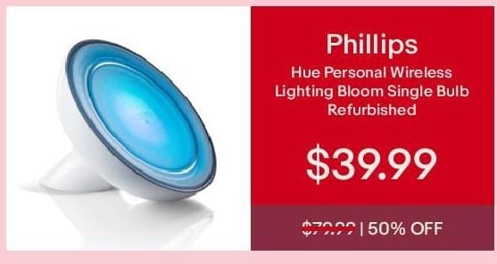 eBay Cyber Monday: Phillips Hue Personal Wireless Lighting Bloom Single Bulb (Refurb) for $39.99