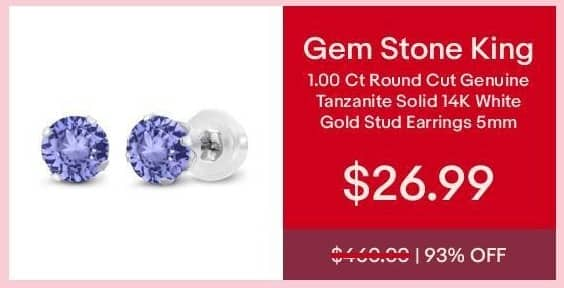 eBay Cyber Monday: Gem Stone King 1.00 ct Round Cut Genuine Tanzanite Solid 14K White Gold Stud Earrings 5mm for $26.99