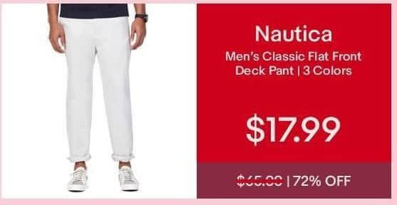 eBay Cyber Monday: Nautica Men's Classic Flat Front Deck Pant for $17.99