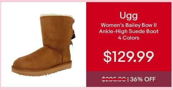 eBay Cyber Monday: Ugg Women's Bailey Bow II Ankle-High Suede Boot for $129.99