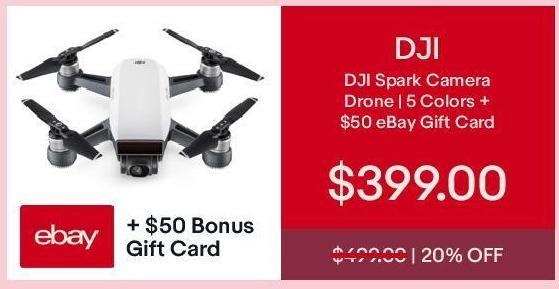 eBay Cyber Monday: DJI Spark Camera Drone + $50 eBay Gift Card for $399.00