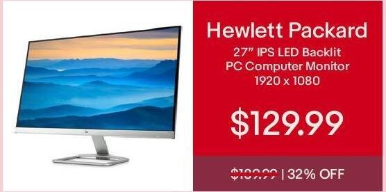 """eBay Cyber Monday: 27"""" HP IPS LED Backlit PC Computer Monitor for $129.99"""