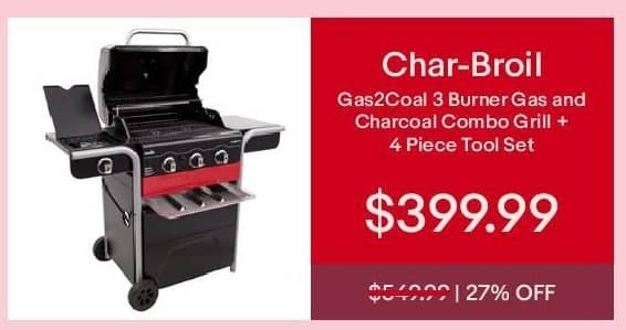 eBay Cyber Monday: Char-Broil Gas2Coal 3 Burner Gas and Charcoal Combo Grill + 4-pc. Tool Set for $399.99
