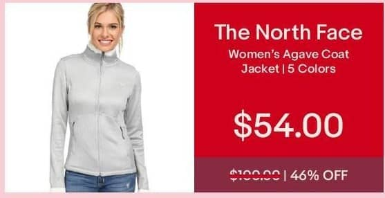 eBay Cyber Monday: The North Face Women's Agave Coat Jacket for $54.00