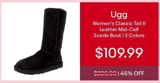 eBay Cyber Monday: Ugg Women's Classic Tall II Leather Mid-Calf Suede Boot for $109.99
