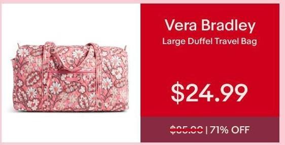 eBay Cyber Monday: Vera Bradley Large Duffel Travel Bag for $24.99