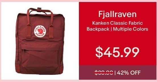 eBay Cyber Monday: Fjallraven Kanken Classic Fabric Backpack for $45.99