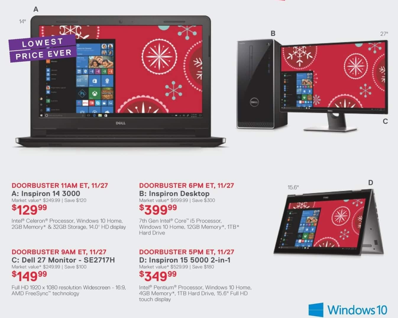 "Dell Home & Office Cyber Monday: 14"" Dell Inspiron 14 3000 Laptop: Celeron, 2GB, 32GB, Win 10 Home for $129.99"