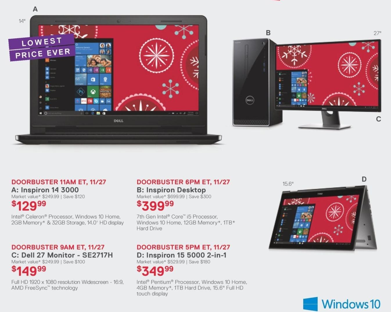Dell Home & Office Cyber Monday: Dell Inspiron Desktop: i5 (7th Gen), 12GB, 1TB HD, Win 10 Home for $399.99