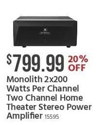 Monoprice Black Friday: Monolith 2x200-Watts Per Channel Two Channel Home Theater Stereo Power Amplifier for $799.99