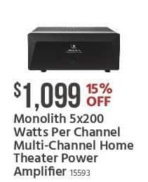 Monoprice Black Friday: Monolith 5x200-Watts Per Channel Multi-Channel Home Theater Power Amplifier for $1,099.00