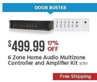 Monoprice Black Friday: 6-Zone Home Audio Multizone Controller and Amplifier Kit for $499.99