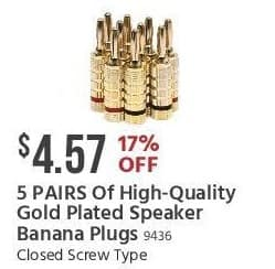 Monoprice Black Friday: 5 Pairs of High-Quality Gold Plated Speaker Banana Plugs for $4.57
