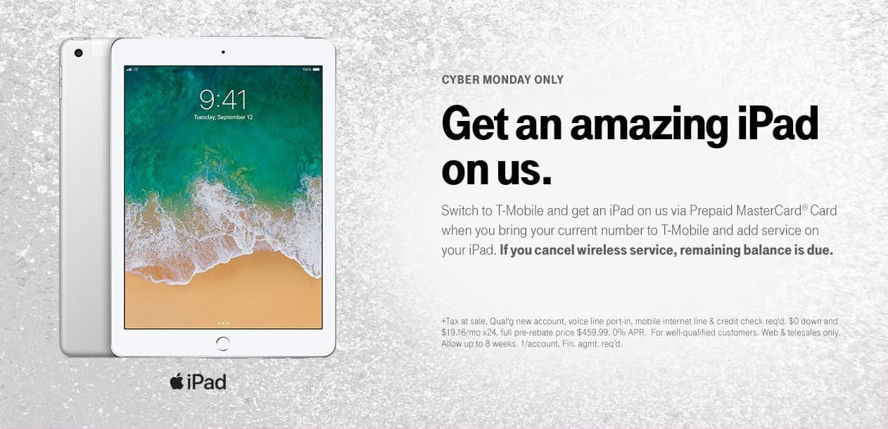 T-Mobile Cyber Monday: iPad via Prepaid MasterCard Card w/T-mobile
