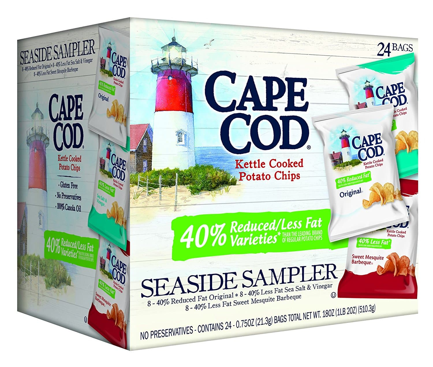 Up Again Prime Members - Cape Cod Potato Chips Reduced Fat 24-Pack for $8.34 w/FS and SS