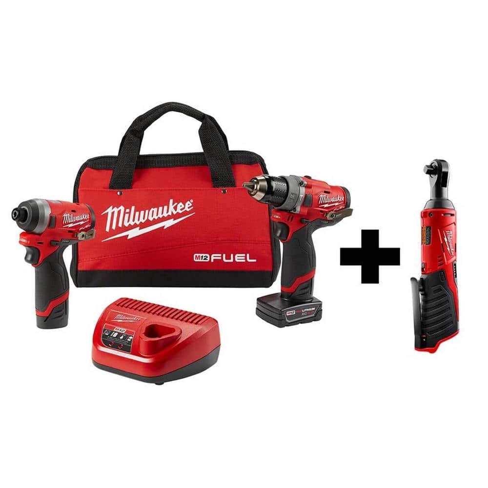 Milwaukee M12 FUEL 12-Volt Li-Ion Brushless Cordless Hammer Drill and Impact Driver Combo Kit (2-Tool)w/ M12 3/8 in. Ratchet-2598-22-2457-20 - $229
